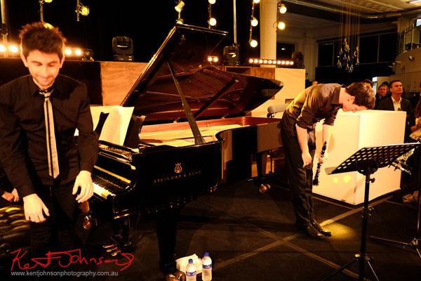 Taking a bow; In performance, Andreas Ottensamer clarinete accomanied by pianist Alex Rainer plays 'Yellow Lounge' Street Fashion Sydney
