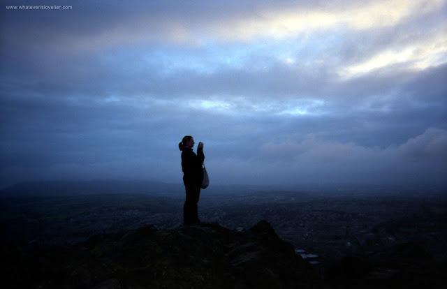 At the top of Arthur's Seat, Edinburgh