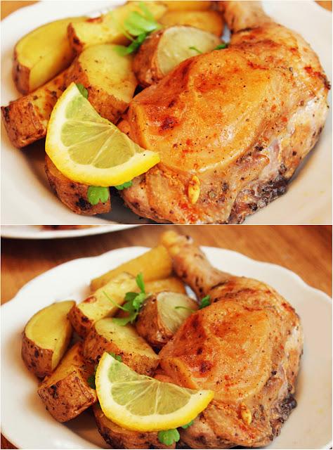 Куриные окорочка с лимоном и чесноком