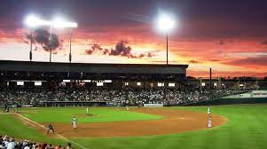 Dell Diamond at sunset, Round Rock Express, Austin, Texas.