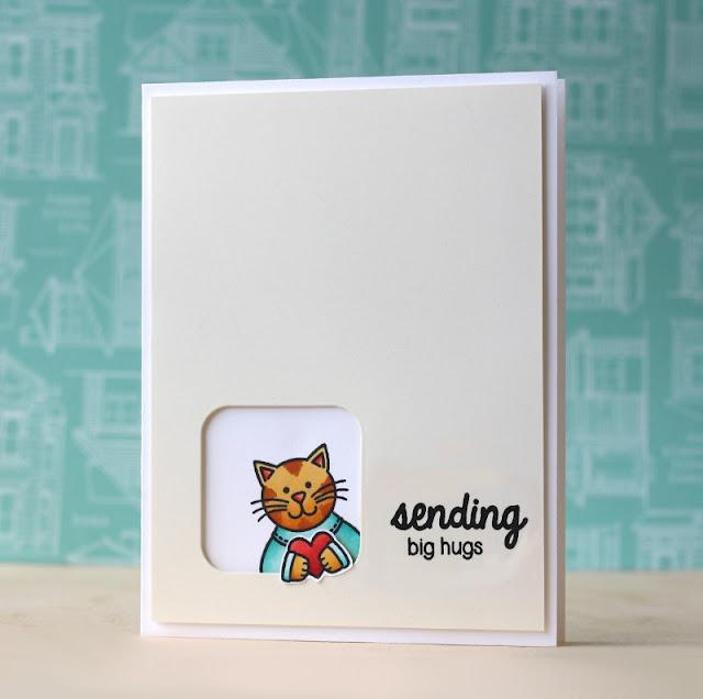 Sunny Studio Stamps:  Sending My Love & Big Hugs Kitty Cat Card by Laura Bassen.