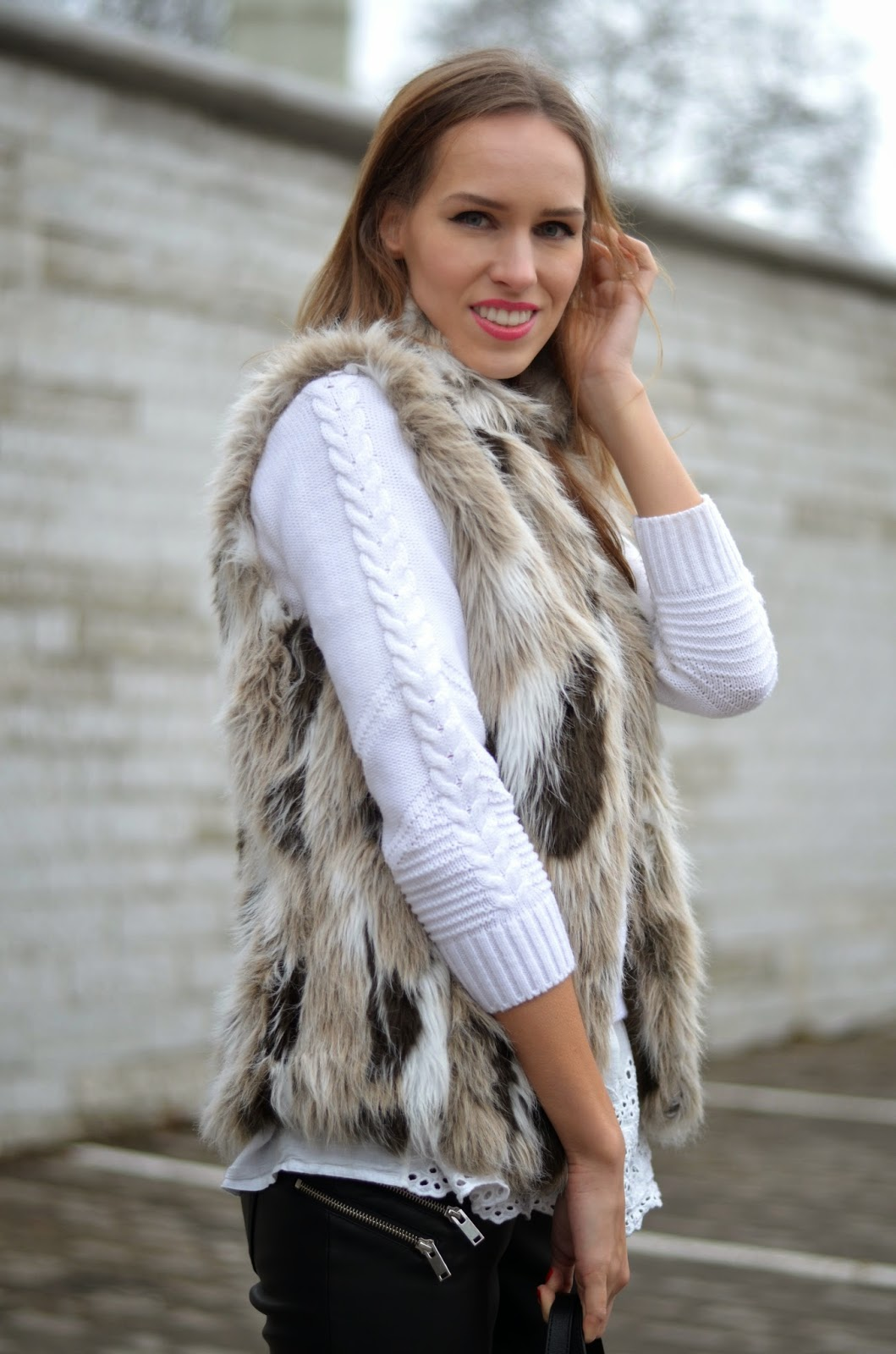 chicwish-white-crochet-jumper-zara-faux-fur-vest kristjaana mere