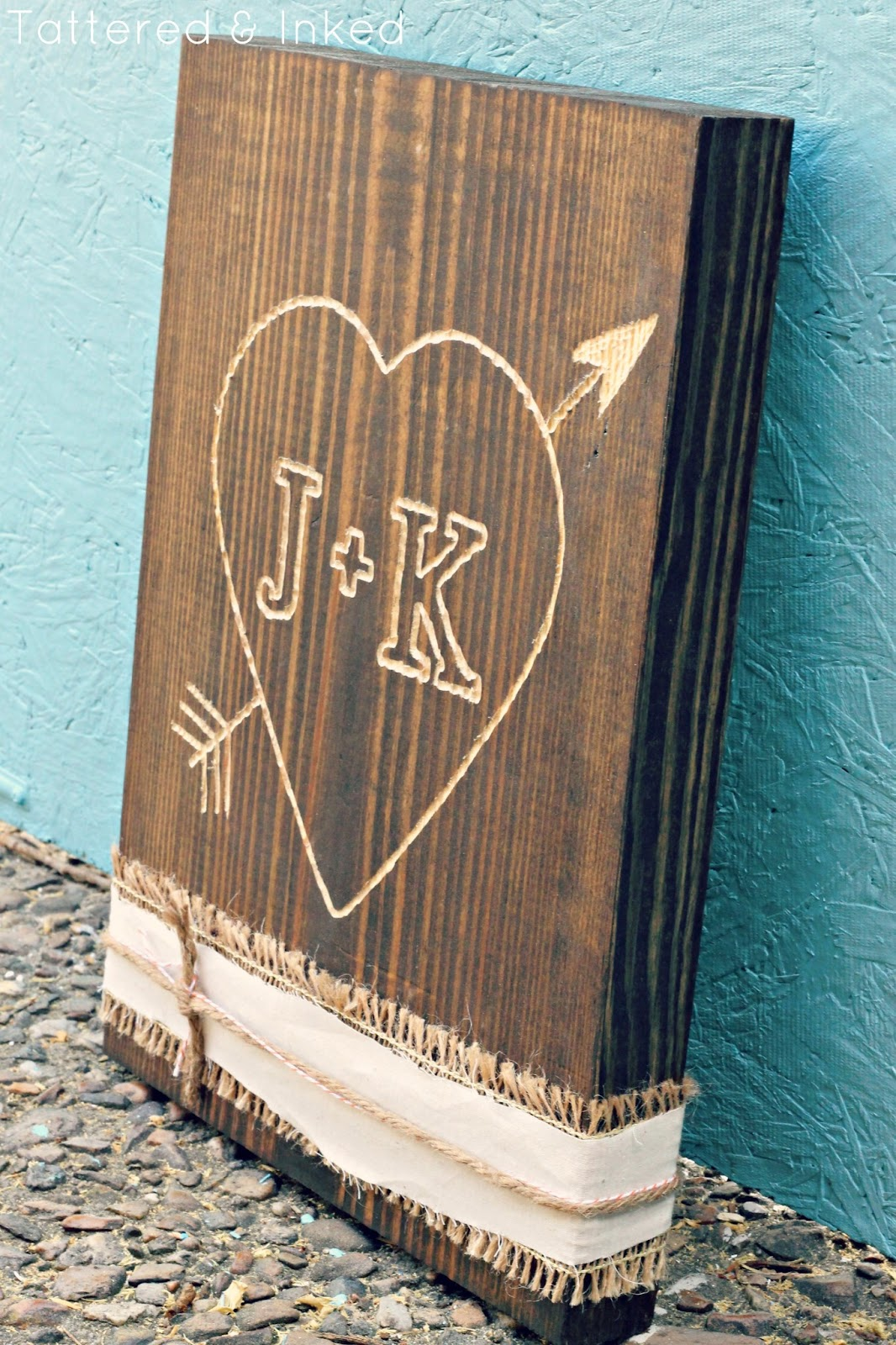 Tattered and inked diy initial wood carving