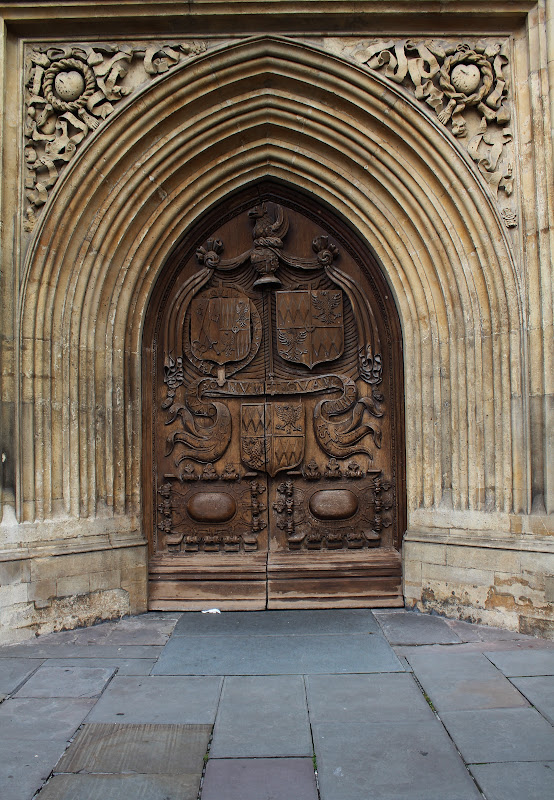 church's gothic doorway near the Roman Baths, Bath title=