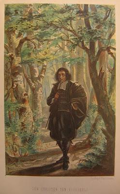 Spinoza in het Haagse bos, getekend door W.B. IJzerdraat voor het verhaal 'Den Christen ten voorbeeld' van W.J. Hofdijk