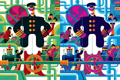 The Beatles Yellow Submarine Print Set by Tom Whalen - Print 2 Standard and Pink Variant Editions
