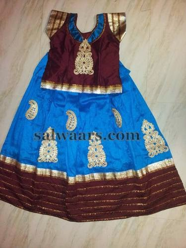 Blue and Maroon Silk Skirt