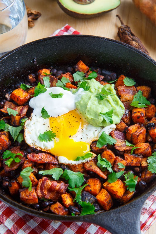 Bacon And Sweet Potato Hash With Avocado Cream Recipe — Dishmaps