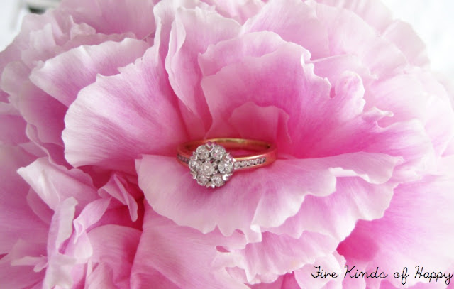 diamond cluster ring, oink peonies