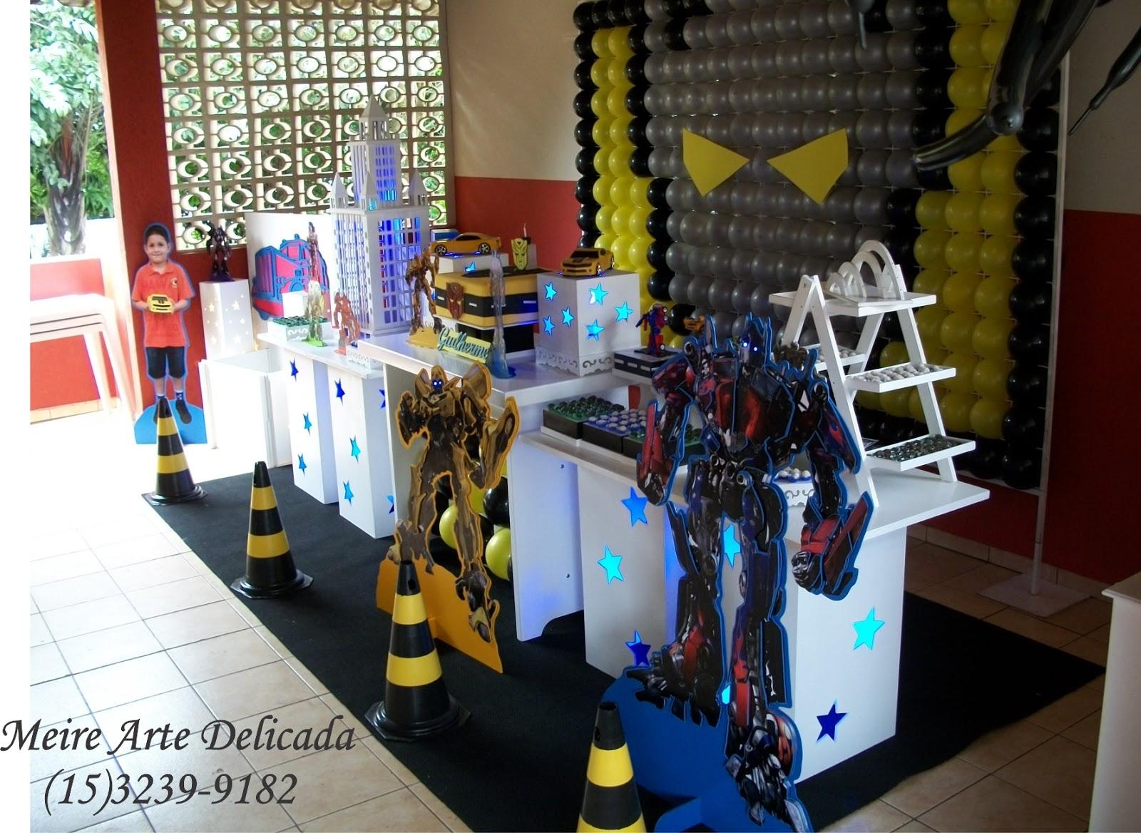 Meire Arte Delicada Decoração de festa Clean dos Transformers em