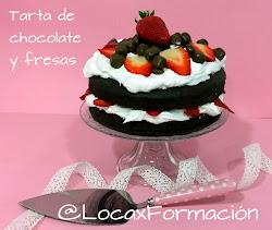 Tarta de Chocolate y Nata con Fresas