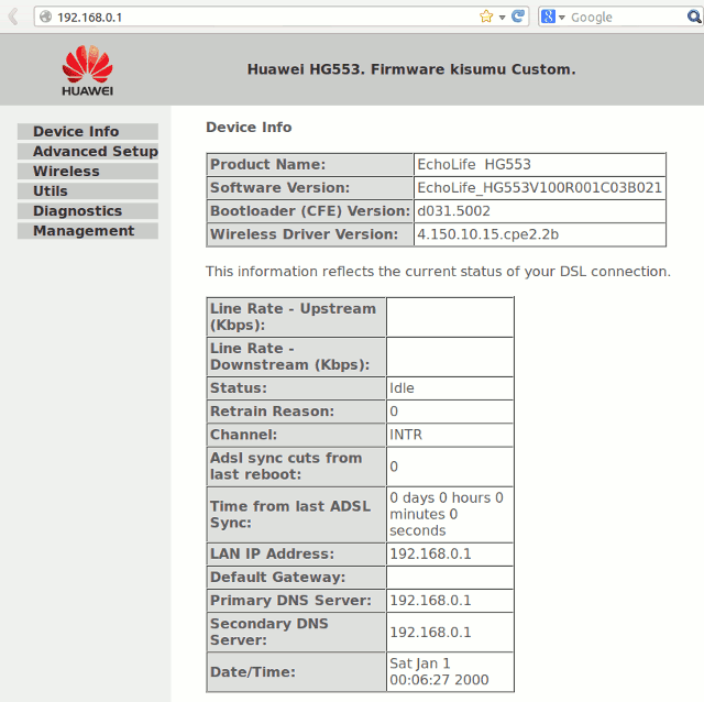 Dashboard Router Huawei Echolife HG553