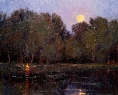 Campfires and Moonlight  16x 20  Oil