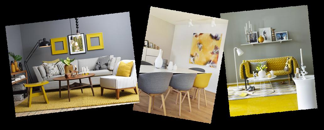 Pashion decoraci n del hogar gris y amarillo for Decoracion de salas en gris y amarillo