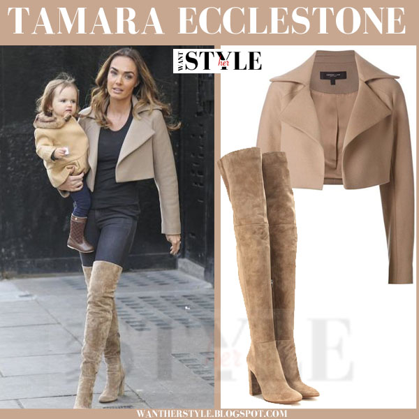 Tamara Ecclestone in beige cropped derek lam jacket and beige suede over the knee gianvito rossi boots what she wore streetstyle