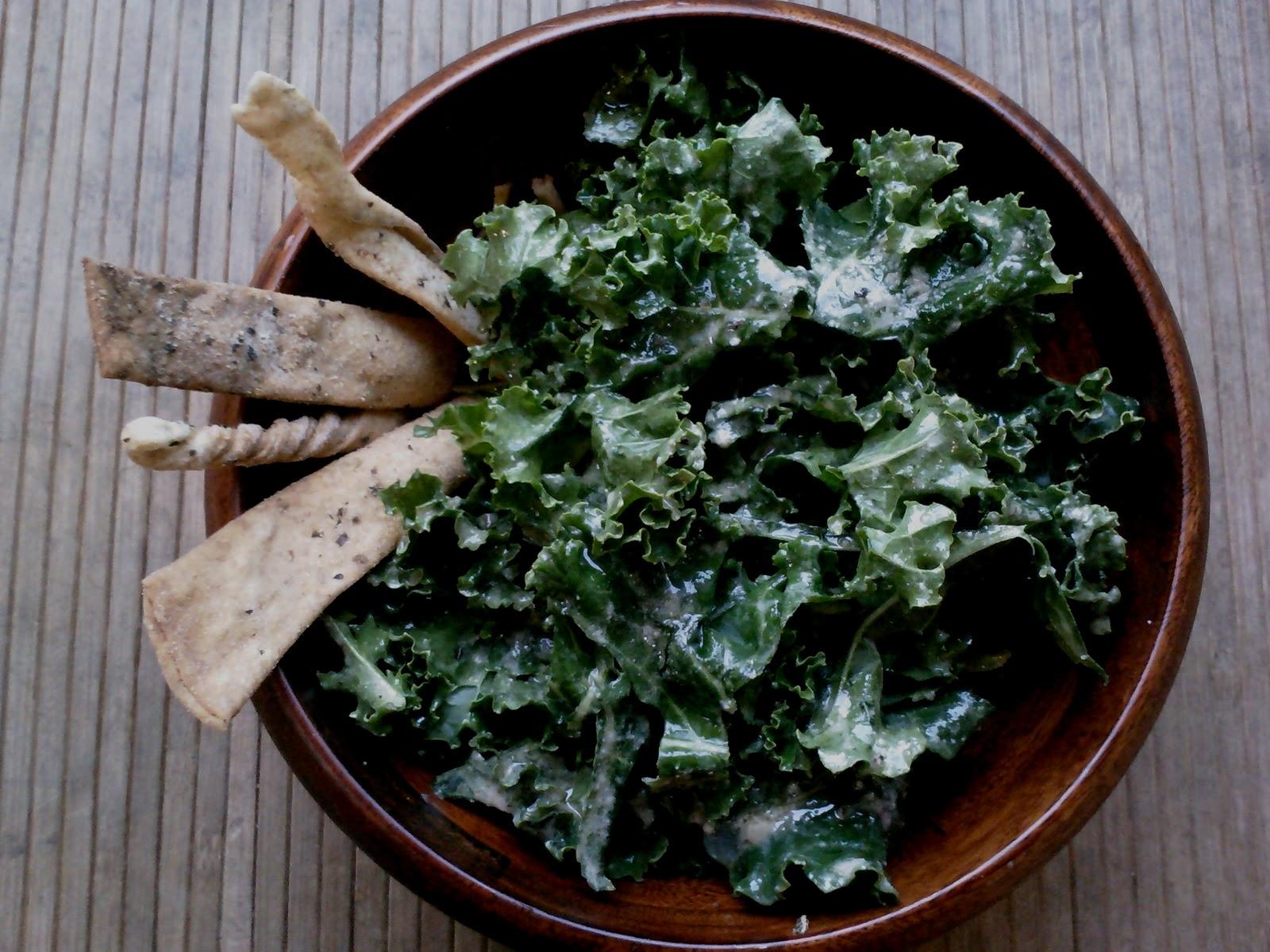 Yum, Yarn and Yoga: Vegan Kale Caesar Salad