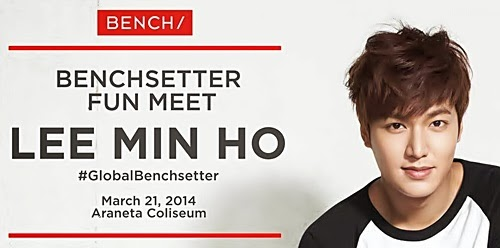 Lee Min Ho Live in Manila: Benchsetter Fun Meet on March 21 Ticket Details