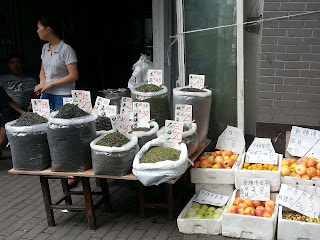 Tea and fruit for sale on Fang Bang Lu in Shanghai