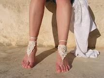 Ivory Crochet Barefoot Sandal Weeding Sandals