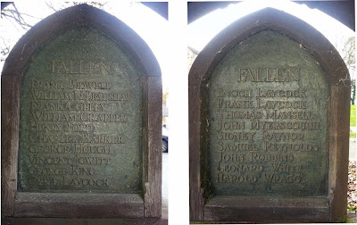 Composite picture of two bronze plaques with wooden borders.  Headed simply Fallen the names are listed in the text below.