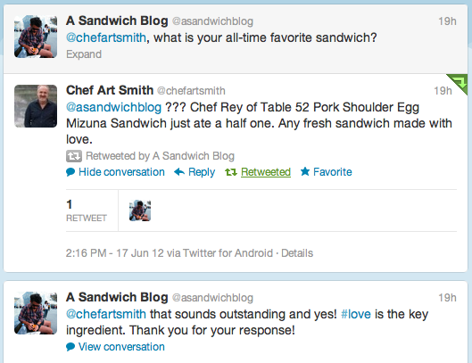 A sandwich blog first celebrity response for Table 52 art smith