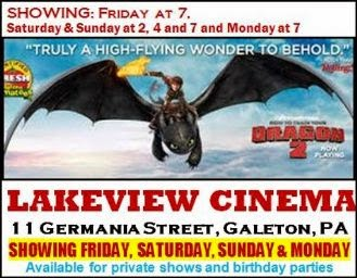 Lakeview Cinema, Galeton, PA Friday Thru Monday