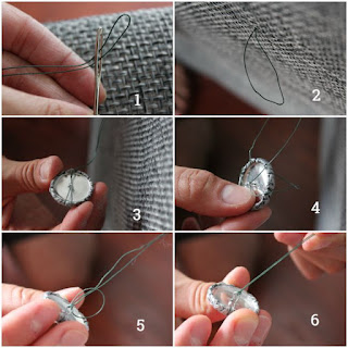 How to thread a button for tufting the easiest way. Also using Spiderwire is the best way to go.