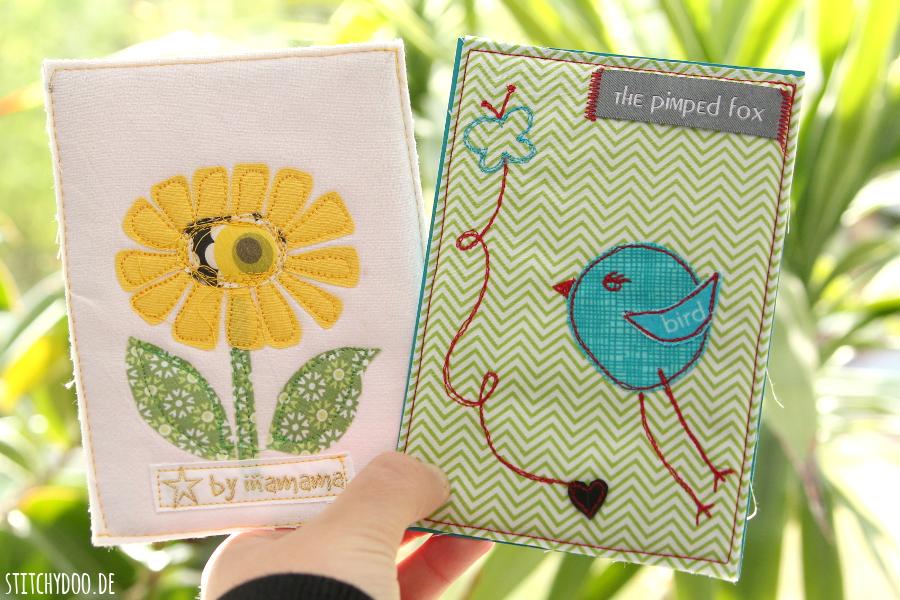 Stoffkartentausch 2015 | Diese Frühlingsboten brachte der April - Blume von Ina und Vögelchen von Uli