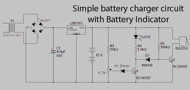 schema electronique gratuit montage chargeur de batterie avec indicateur