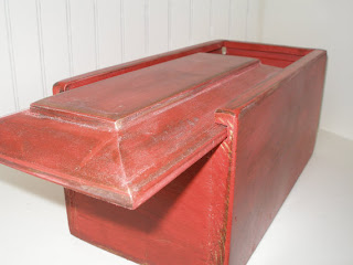 red wooden distressed replica of antique candle box by rustic furnishings on etsy
