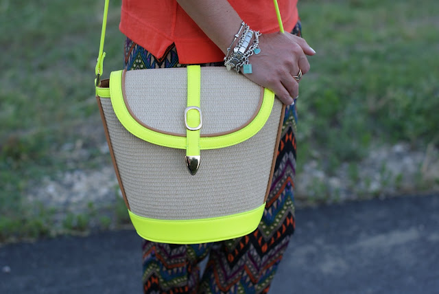 Persunmall neon color straw bag, bucket bag, fashion and cookies