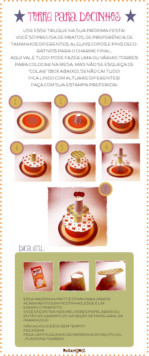 suporte para doces com copos e pratos