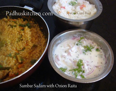 Sambar rice and onion pachadi/raita