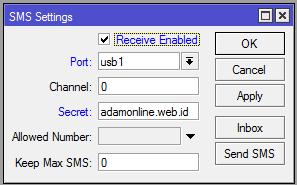 SMS Tools Mikrotik