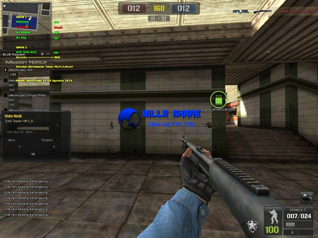 Cheat Point Blank Wallhack + Crosshair + No Smoke + No Fog + Anti Vote Kick 18 Agustus 2014