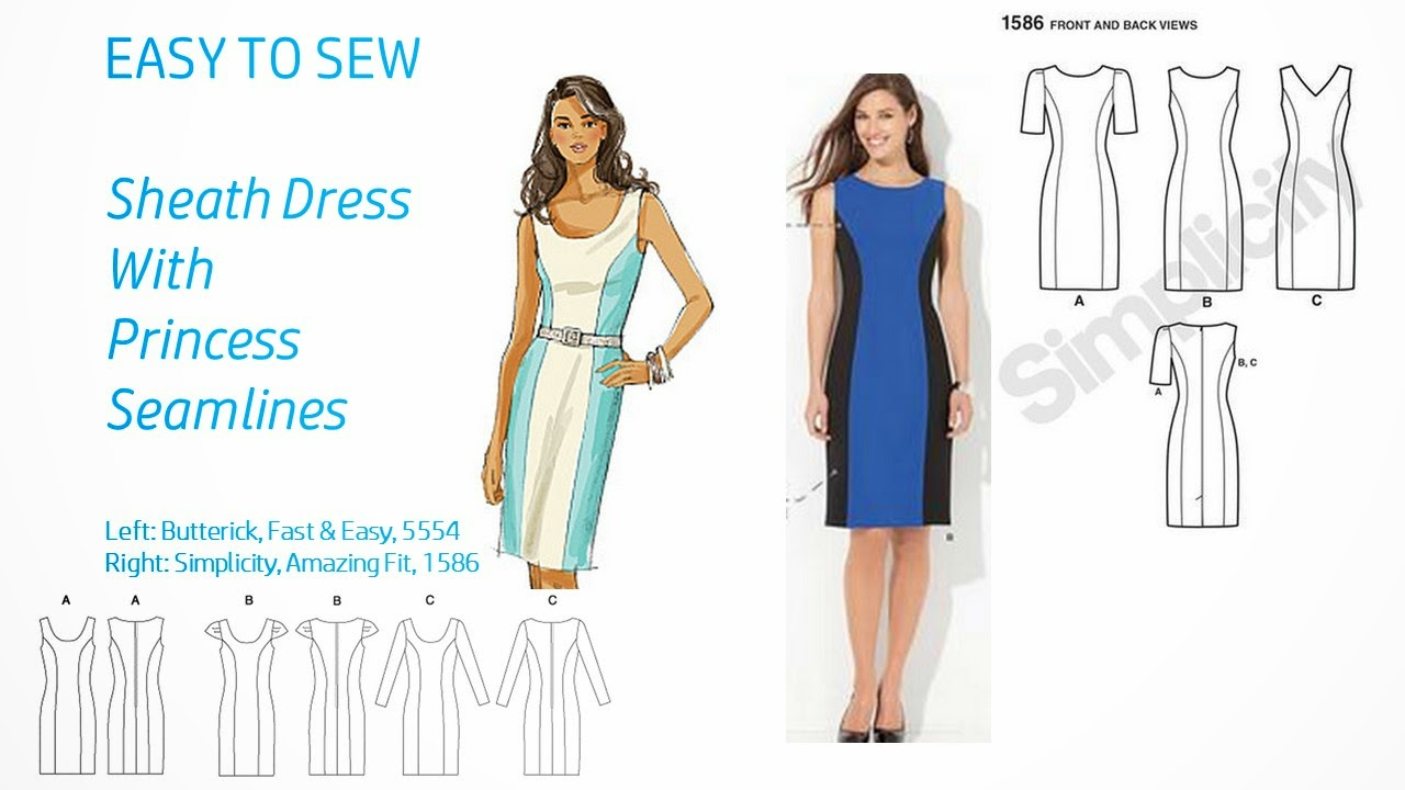 Pintucks 7 best sheath dress patterns with vintage style easy to sew a princess seam line pattern is the best for creating a good fit those long seam lines provide an opportunity to fit the bust line torso and hips more jeuxipadfo Image collections