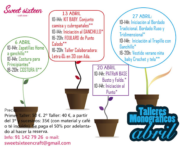Talleres monográficos Abril 2013 Sweet sixteen craft store en madrid