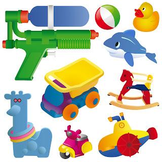 pistola de agua, balancin,submarino de juguete