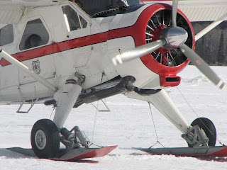 de Havilland Beaver on skis landing in Ely on Shagawa lake