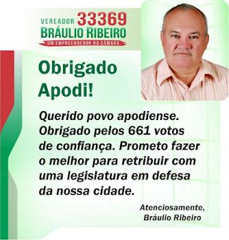 MENSAGEM DE AGRADECIMENTOS AOS 661 VOTOS-VEREADOR ELEITO EM 2012 BRÁULIO RIBEIRO(DA AGUA MINERAL)