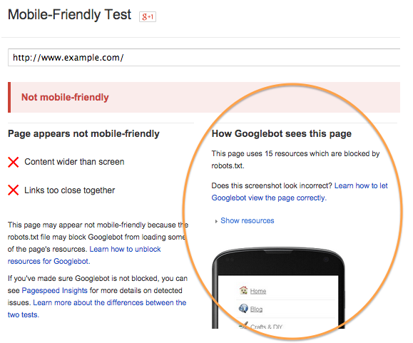 The Google Mobile-Friendly Test