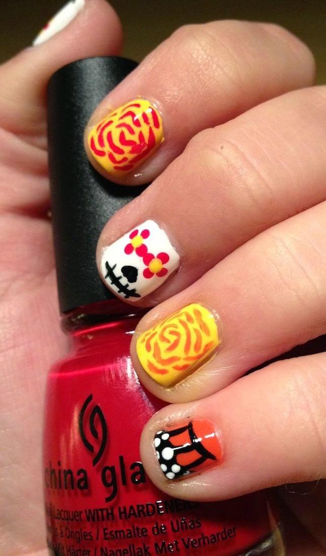 Los 10 Mejores Diseños de Manicure para Halloween, Calaveras de Azucar