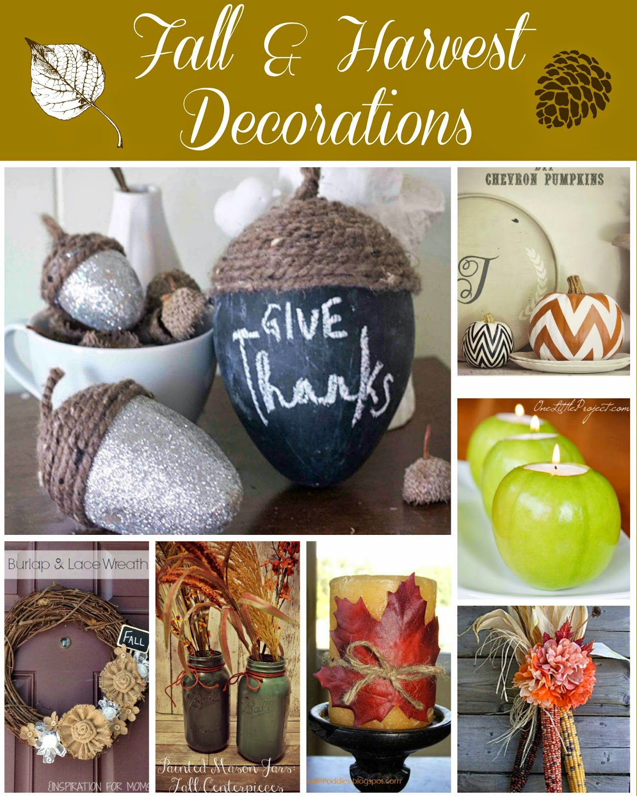 Harvest Home Decor #DIY Ideas.  Easy Fall Decorations.  Harvest Decorations DIY fall decorations.