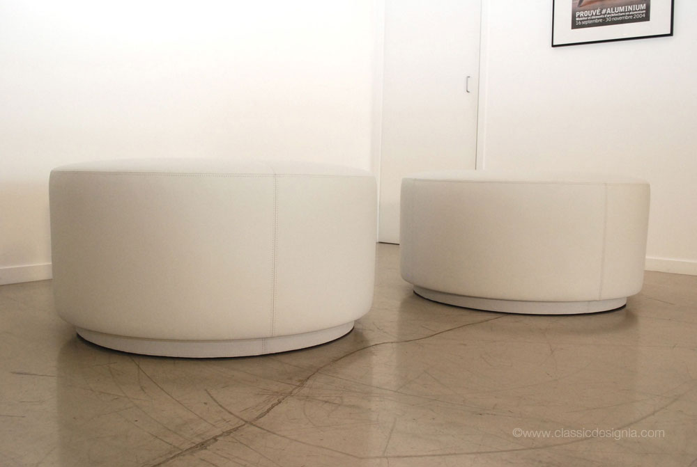 Round Leather Ottoman Design : One of the details the client requested was a double top stitched and ...