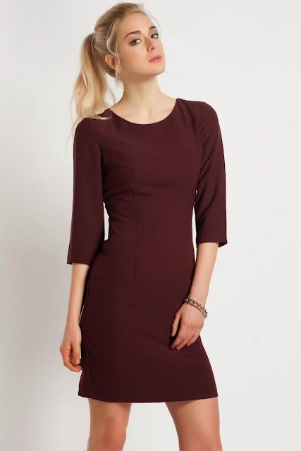 bordo renk dar kesim klasik koton elbise 2014