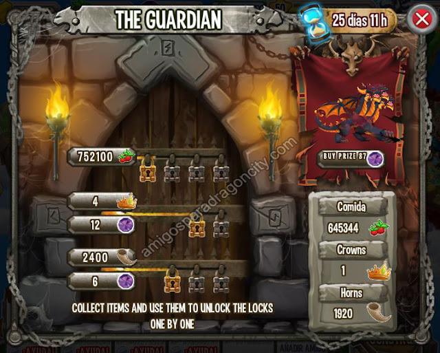 imagen de las tareas y objetos magicos de the guardian el guardian de la isla calabozo