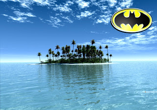 Batman Posters Wallpapers The Dark Knight Logo in Tropical Paradise island background