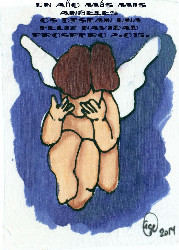 tarjeta de Navidad 2015 en seda pintada de Arte y Seda