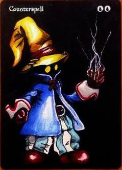 Counterspell Final Fantasy fan art Black Mage altered art magic the gathering mtg card artwork mtg altered card art
