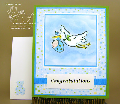 Picture of my stork baby card and its coordinating envelope